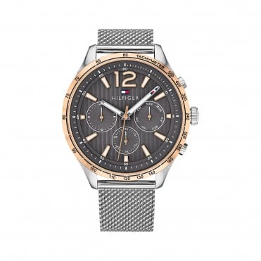 Gavin Grey and Rose Gold Mesh Strap Watch