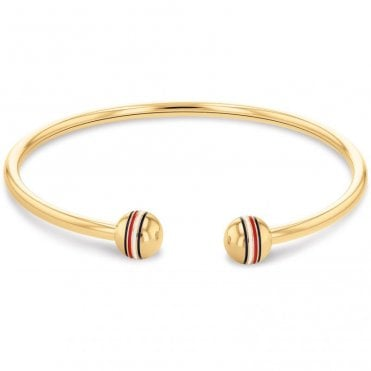 Gold Coloured Steel Cuff Bangle with Logo Ends