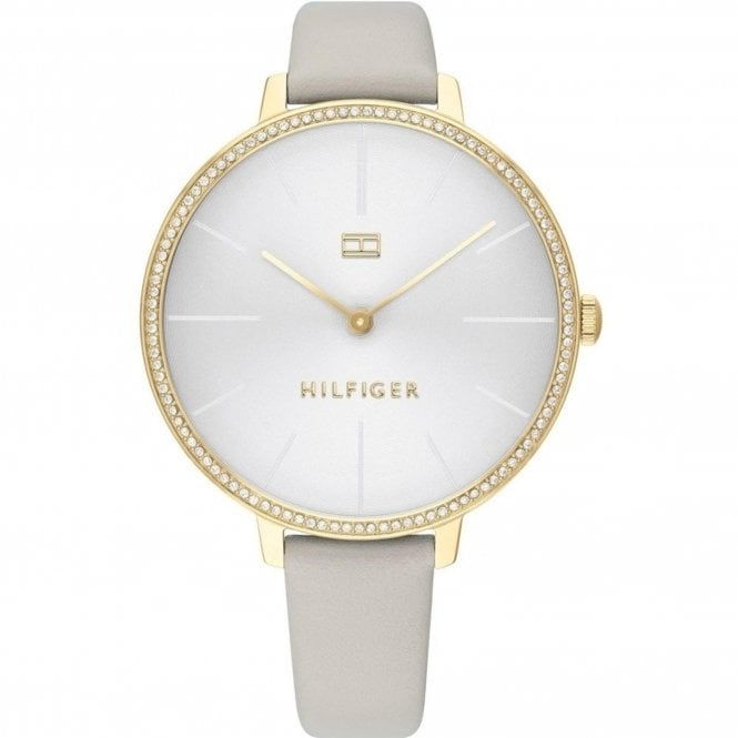 Tommy Hilfiger Gold Toned Grey Leather Kelly Ladies Watch