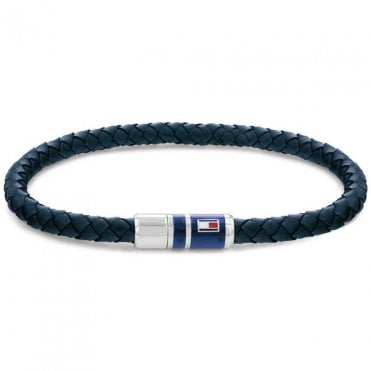 Navy Leather and Steel Bracelet, 21cm