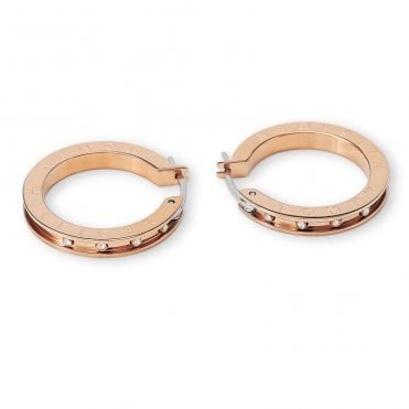Rose Gold and CZ Stud Thin Hoop Earrings