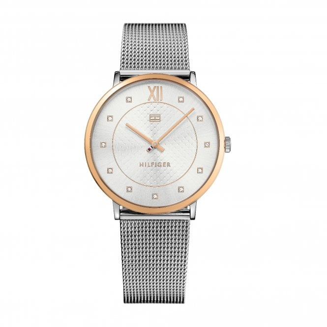Tommy Hilfiger Sloane White and Steel Mesh Strap