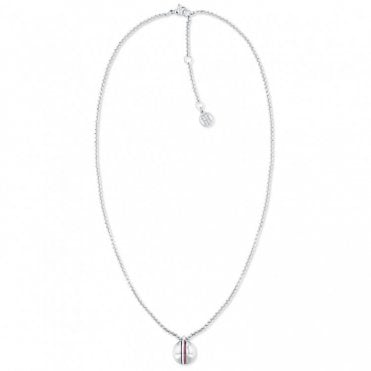Steel Necklace with Hilfiger Logo Pendant