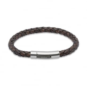Aged Brown Leather & Steel Bracelet 21cm - B170ADB