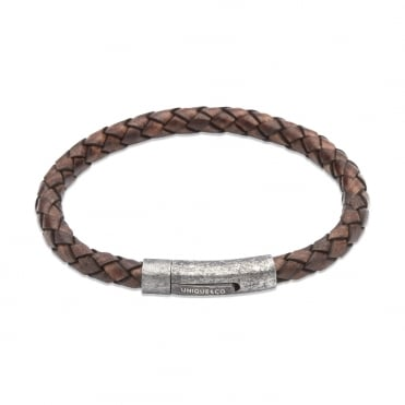 Aged Brown Leather & Steel Bracelet - B322ADB