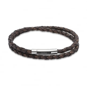 Antique Dark Brown Leather Double Wrap 21cm Bracelet
