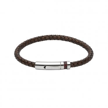 Antique Dark Brown Leather Steel Clasp Brown Leather Inlay Bracelet, 23cm