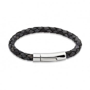 Antiqued Black Braided Leather and Polished Steel Clasp Bracelet, 21cm