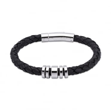 Black Leather Bracelet 21cm - A65BL