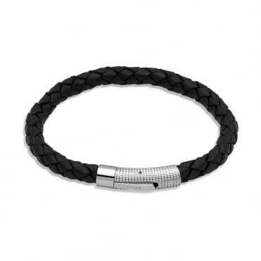 Black Leather Bracelet 23cm - B174BL