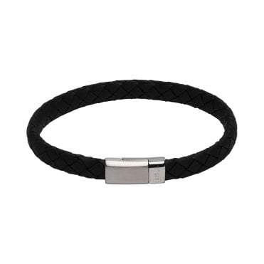 Black Leather Edge Bracelet with Matte and Polished Steel Clasp, 21cm