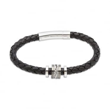 Black Leather & Steel Bracelet 21cm - B325BL