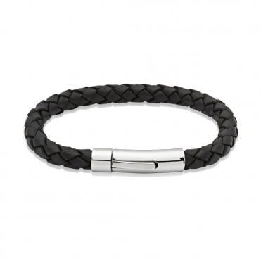 Black Leather Steel Clasp Bracelet, 21cm