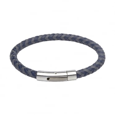 Blue and grey leather and steel 21cm bracelet