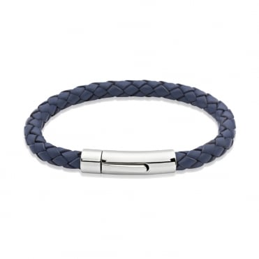 Blue Leather Steel Clasp Bracelet, 21cm