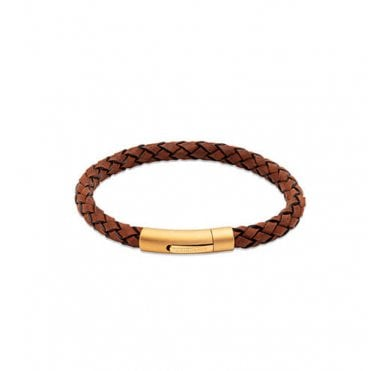 Dark Brown Braided Leather and Gold Steel Clasp Bracelet