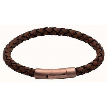 Dark Brown Braided Leather and Rose Gold Steel Clasp Bracelet, 21cm