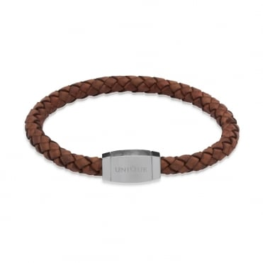Dark Brown Woven Leather Bracelet With Steel 21cm - B144ATA