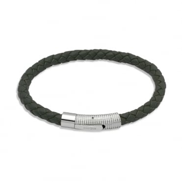 Drab Olive Green Leather Chunky Wrap Bracelet 21cm - B174DG