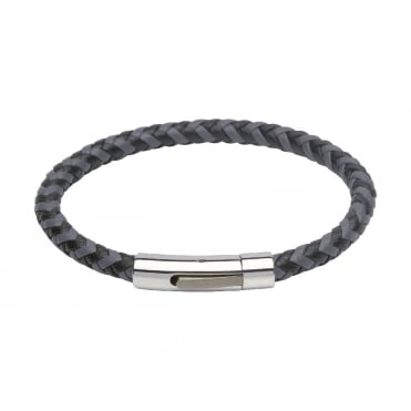 Grey and black leather and steel 21cm leather bracelet