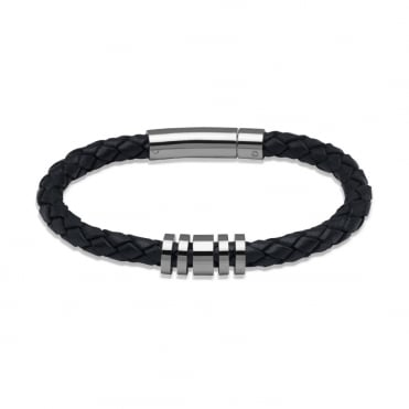 Navy Leather Bracelet 21cm - A65NV