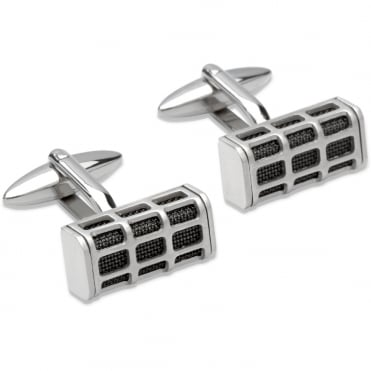 Steel & Black Plated Cufflinks - QC-174