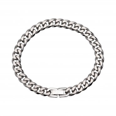 Steel Curbed Link 8mm Bracelet 19cm