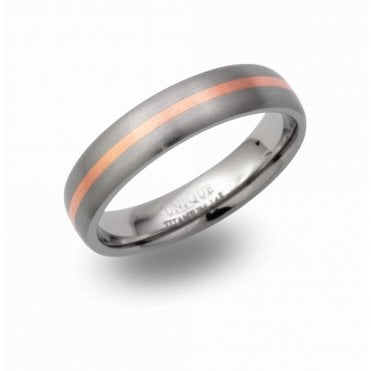 Titanium and 14ct Rose Gold Ring, Size 64