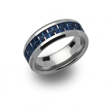Tungsten Blue 8mm Ring, 64 - TUR-49
