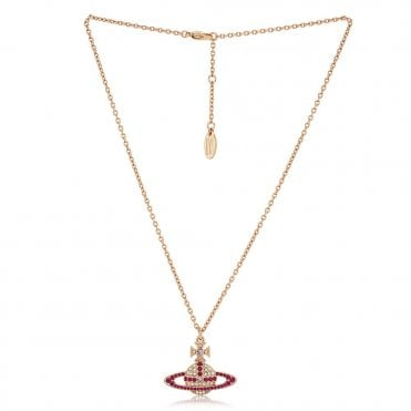 Crystal Kika Pendant Necklace in Pink Gold with Fuchsia Pink and Violet Crystal