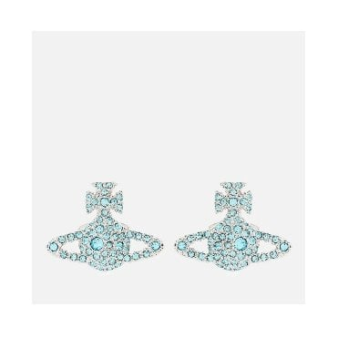 Grace Bas Relief Earrings in Silver with Aqua Blue Bohemica Crystal