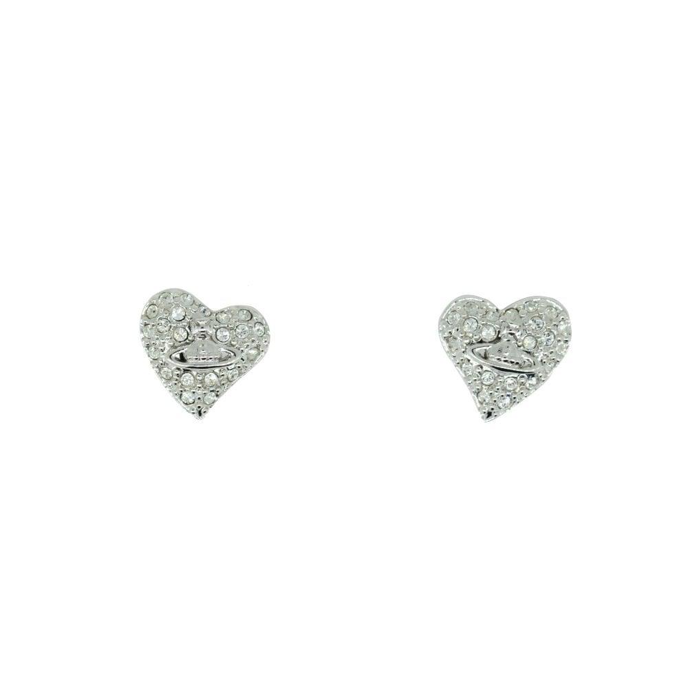 795b017333 VIVIENNE WESTWOOD Rhodium Silver Crystal Tiny Diamante Earrings