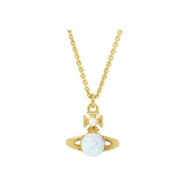 Isabelitta Bas Relief Pendant Necklace in Yellow Gold with Opal CZ