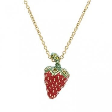 Leonela Strawberry Pendant Necklace in Yellow Gold with Red Enamel