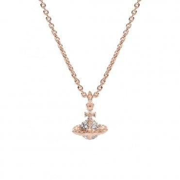 Mayfair Small Orb Pendant Necklace in Pink Gold with Crystal