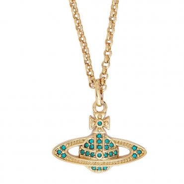 Mini Bas Relief Pendant Necklace in Yellow Gold with Emerald Green Crystal