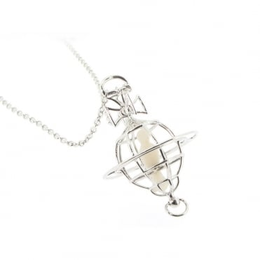 Mother Of Pearl Paloma Dove Orb Pendant Necklace