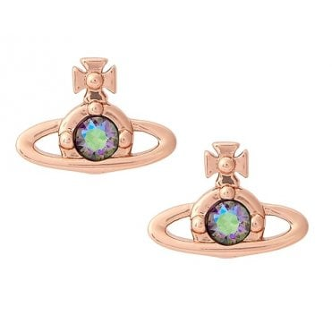 Nano Solitaire Earrings in Pink Gold with Paradise Shine CZ