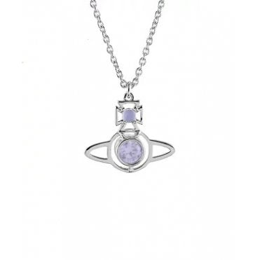 Nora Pendant Necklace in Silver with Purple Lavender Opal CZ