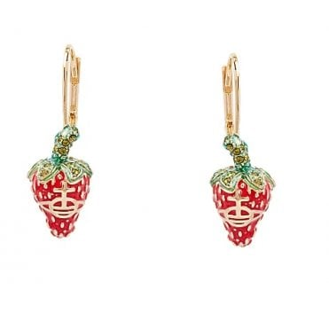 Olivine Red with Green Leonela Drop Earrings in Yellow Gold