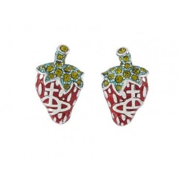 Olivine Red with Green Leonela Earrings in Silver
