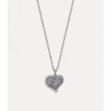 Petra Pendant Necklace in Silver with Purple Lavender Crystal and Pearl Tint