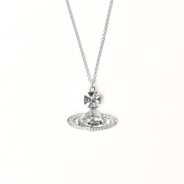 Pina Small Bas Relief Pendant Necklace in Silver with Crystal