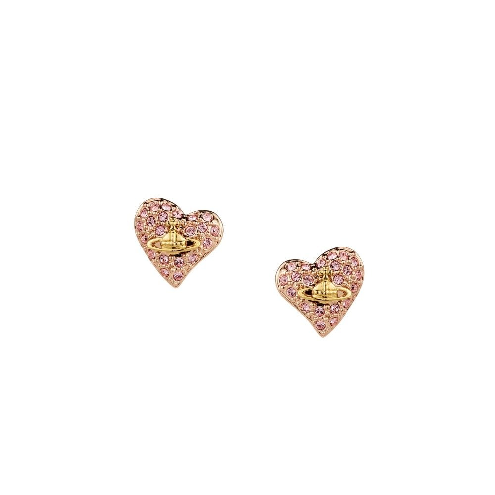 6ef6c1b80 Vivienne Westwood Pink Gold and Diamante Tiny Heart Stud Earrings