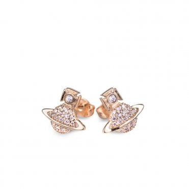 Pink Gold and Light Pink CZ Tamia Earrings