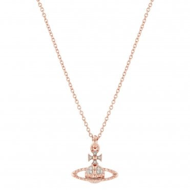 Pink Gold and Rhodium Crystal Mayfair Bas Relief Pendant Necklace
