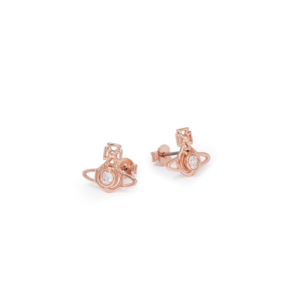 847546f0f VIVIENNE WESTWOOD Pink Gold and White Crystal Nora Earrings
