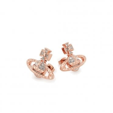 Pink Gold & Rhodium Silver Crystal Mayfair Bas Relief Earrings