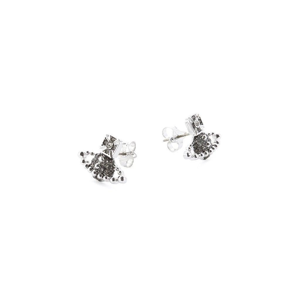 2cd6a8c8eee6ff VIVIENNE WESTWOOD Rhodium & Black Diamond CZ Lena Bas Relief Earrings