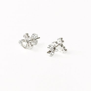 Rhodium Silver and Crystal Brucella Bas Relief Earrings